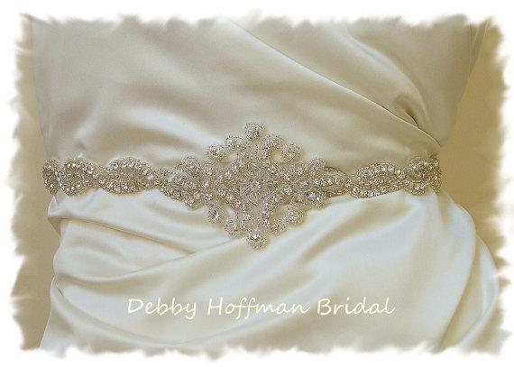 Свадьба - Rhinestone Crystal Bridal Belt, 27 inch Silver Beaded Wedding Dress Sash, Bridal Sash, No. 1126S1161-27, Wedding Accessories, Belts, Sashes