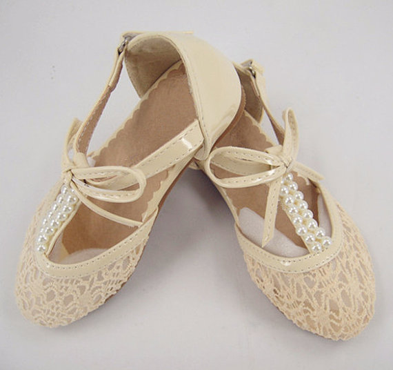 Lace Shoes Pearl Wedding Flower S Pink Dance Little Bridesmaid