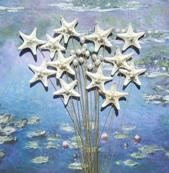 Свадьба - Starfish and Pearl Stems - Bridal Bouquet  Wedding Bouquet  - Two Dozen Stems