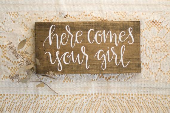 زفاف - Here Comes Your Girl Ring Bearer Sign - Hand Lettered Calligraphy