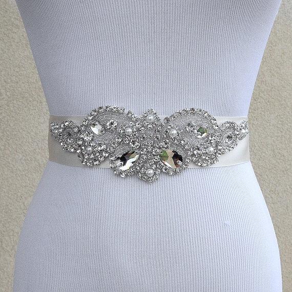 زفاف - Bridal Sash Belt Wedding Dress Sash Belt Rhinestone and Pearl Wedding Sash Belt Rhinestone Sash Belt Ivory Ribbon SA016LX