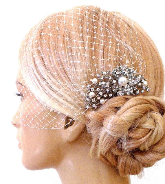 Mariage - birdcage veil and a bridal comb (2 Items) -  Swarovski Pearls Comb,Wedding comb,bridal headpieces , rhinestone bridal Hair comb