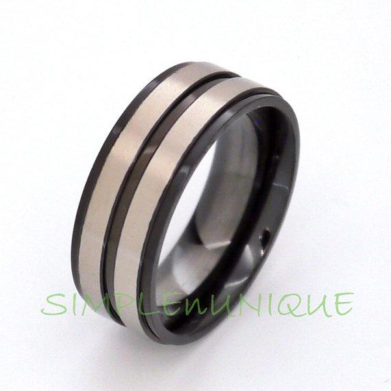 زفاف - Black Titanium Ring Mens Band Titanium Wedding Band Black Mens Ring Mens Engagement Brushed Double Stripe Center Unique Ring SNUHBRTMSIQO