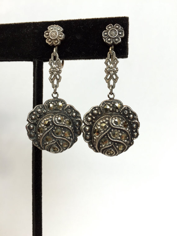 Vintage Jewelry Earrings Antique Sterling Silver Marcasite Flower 20s Dangle Art Deco Drop Back Wedding Bridal