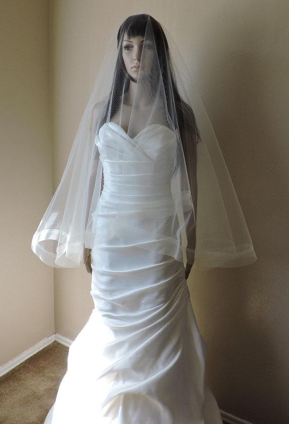 "Wedding - 2"" Horsehair Trim Wedding Drop Veil Illusion Tulle"