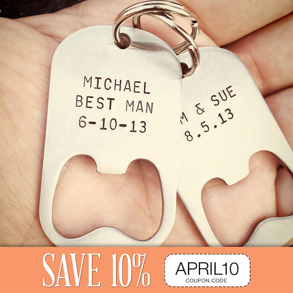 Set Of 8 - GROOMSMEN GIFTS Personalized Bottle Opener