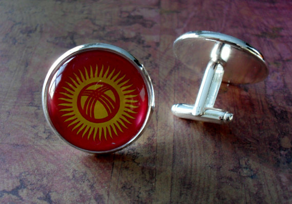 Свадьба - KYRGYZSTANI FLAG Silver Cufflinks // National Flag of KYRGYZSTAN // Father's Day // Groomsmen Gift // Wedding // Patriotic // Gift boxed