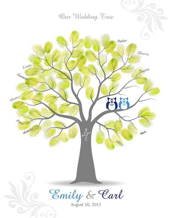 زفاف - Thumbprint Wedding Tree Guest Signature Poster with Ink Pad, Wall Art, Personalized Wedding Tree with Owls, 11x14