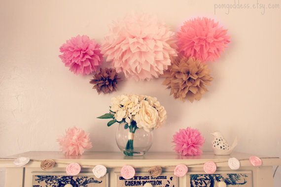 10 tissue pom poms wedding decoration birthday decor nursery decor baptism its a