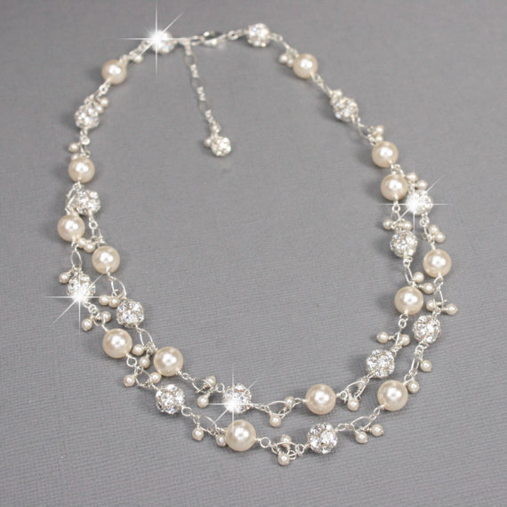 Unique Bridal Necklace Rhinestone And Pearl Charm Necklace Double