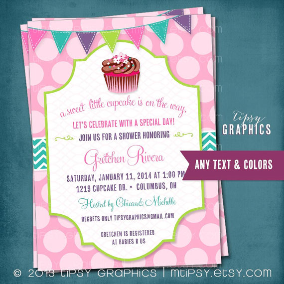 Свадьба - Pink Cupcake Polka Dot  Baby Shower or Birthday Invite by Tipsy Graphics. Any colors text.