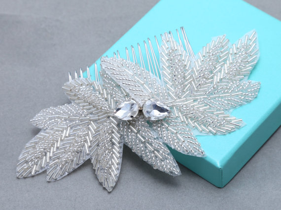 Mariage - Leaf Leaves Applique Hair Comb, Wedding Bridal Hair Comb, Rhinestone Crystal Applique Hair Clip, Sash, Ribbon Headband, Metal Headband