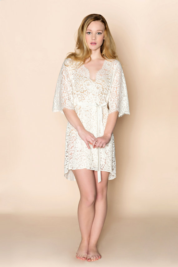 Wedding - Ready to ship - Elizabeth Scallop Cotton floral Lace Bridal getting ready Robe in ivory