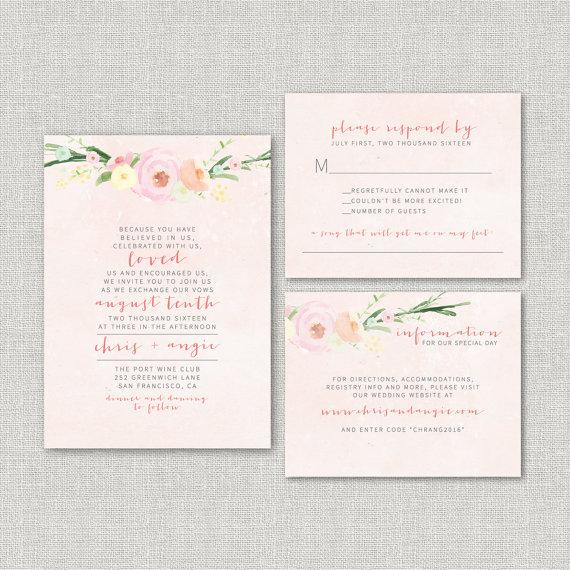 Watercolor Floral Wedding Invitation Suite DEPOSIT - DIY ...