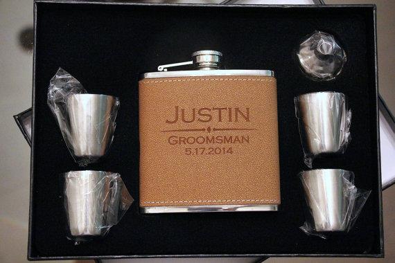 Flask Set, Groomsmen Gift, Groomsmen Flask, Gift for Groomsmen, Custom ...