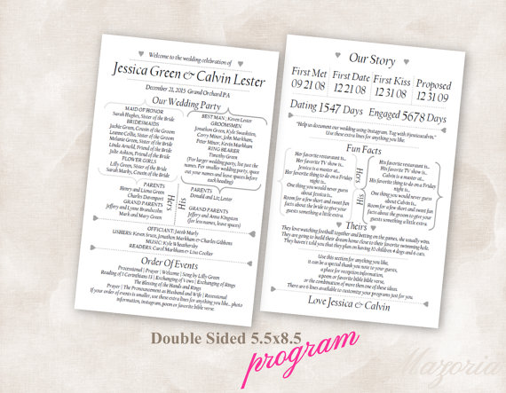 Wedding Program Double Sided Modern Fun Facts Our Story Black Font