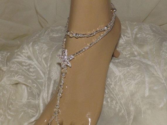 Hochzeit - Barefoot Sandals Toddler Kids Baby Crystal Foot Jewelry Flower Girl Wedding Bridal Jewelry Bridesmaids Gift Children Barefoot Sandals