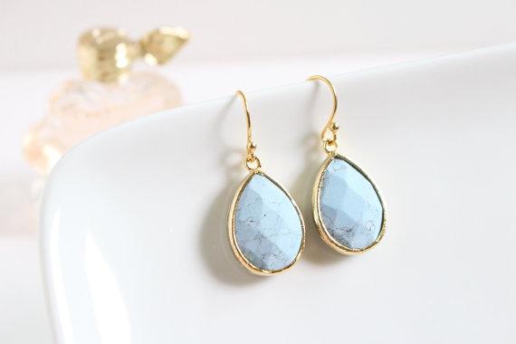 Wedding - Turquoise stone earrings in gold, Turquoise earrings, Bridesmaid jewelry, Everyday earrings, Wedding earrings