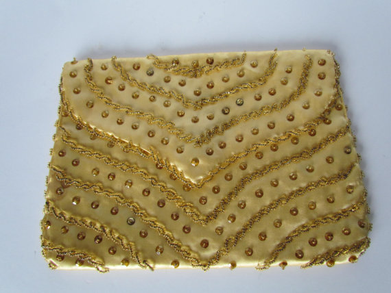 Wedding - Bridesmaid Clutch Gold Bag Beaded Clutches Vintage Bags and Purses Vintage Wedding Accessory