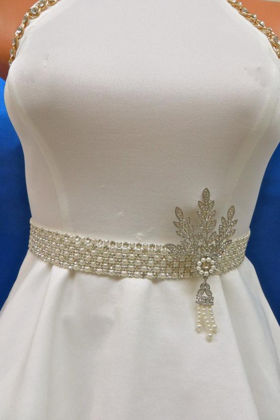 Wedding - Great Gatsby Sash, Great Gatsby Belt, Pearl Wedding Belt, Pearl Bridal Belt, Pearl Wedding Sash, Pearl Bridal Sash, Great Gatsby Sash