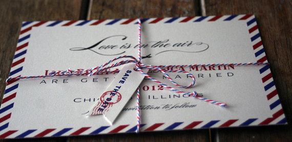 زفاف - Vintage Air Mail Save the Date, Air Mail Wedding Invitations, airplane wedding invites,Destination Save The Date,Love is in the Air Wedding
