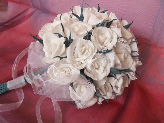 Свадьба - Bridal bouquet,wedding bouquet ,white roses,bridesmaids bouquet,paper flower bouquet,flower bouquet paper,wedding decor.