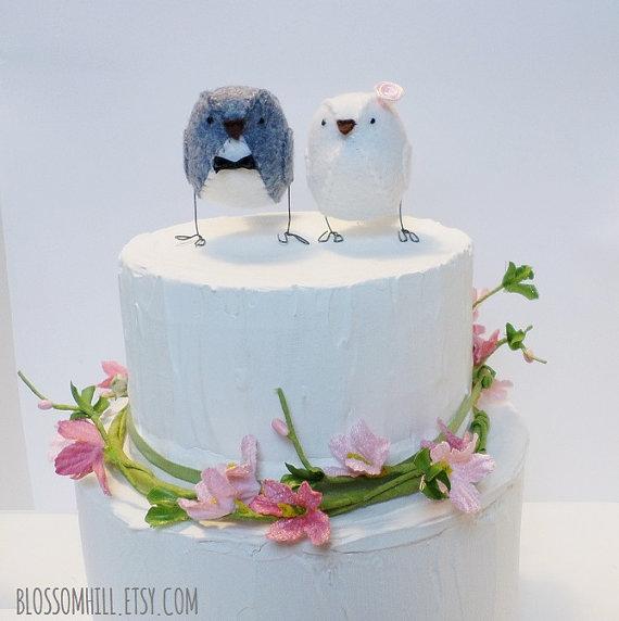زفاف - Wedding cake topper birds - Grey and White