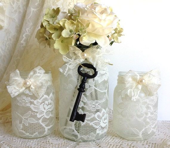 Beige 3 Piece Lace Covered Candle Holders And Vase Mason Jars Gift