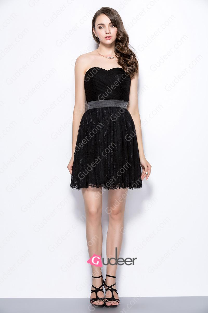 Wedding - Little Black Strapless Sweetheart Pleated Bridesmaid Dress