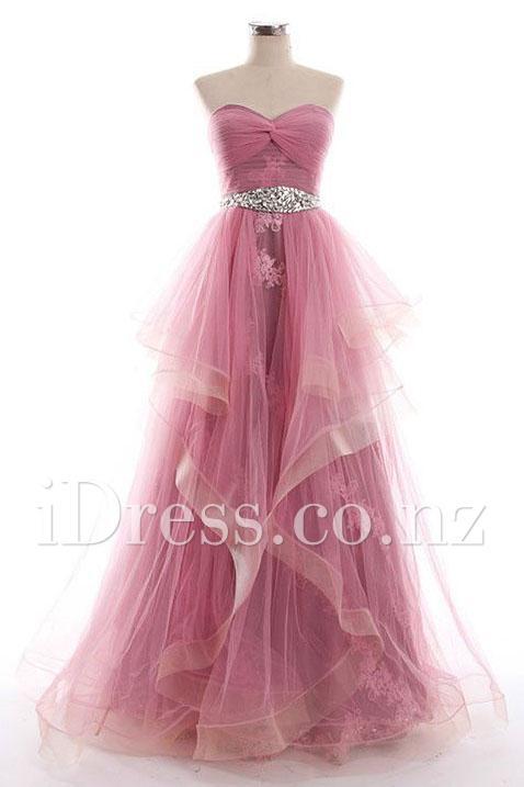 Boda - Rose Pink Strapless Sweetheart Ruffled Tulle Long Prom Dress