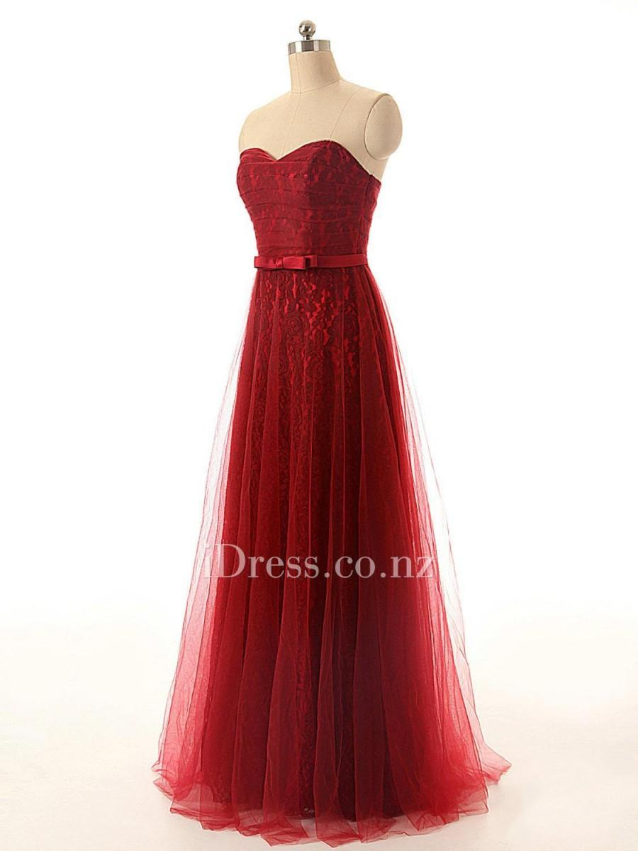 Wedding - Vintage Red Strapless Sweetheart Long Evening Dress with Tulle Overlay