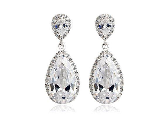 Wedding - cubic zirconia drop wedding earrings wedding jewelry bridal earrings teardrop crystal silver posts bridal earrings swarovski bridal earings