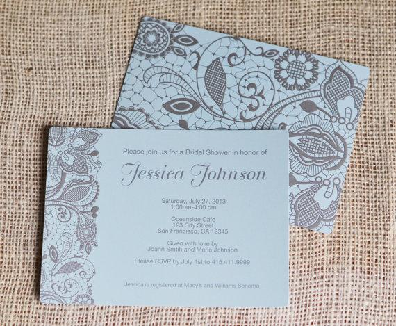 wedding shower invites with printed lace flower floral design invitations double sided