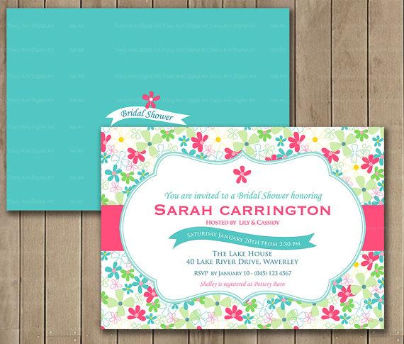زفاف - Hot Pink Wedding Shower Invitation, Floral, Flowers, Digital Printable Invitation, Custom Color Option