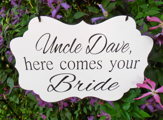 Wedding - Personalized Here comes your bride Wood Sign Decoration Here comes the bride Ring bearer Flower girl Grooms Name