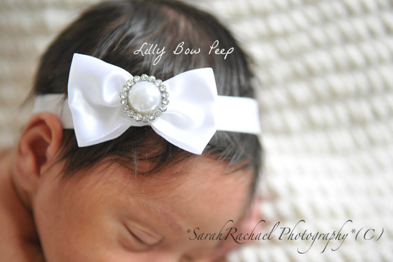 Christmas Headband-Baptism Headband-Baby Headband-White Headband-Preemie-Newborn  Headband-Infant-Toddler-Child-Wedding-Confirmation-Bow-Bows c0bb17c39c4
