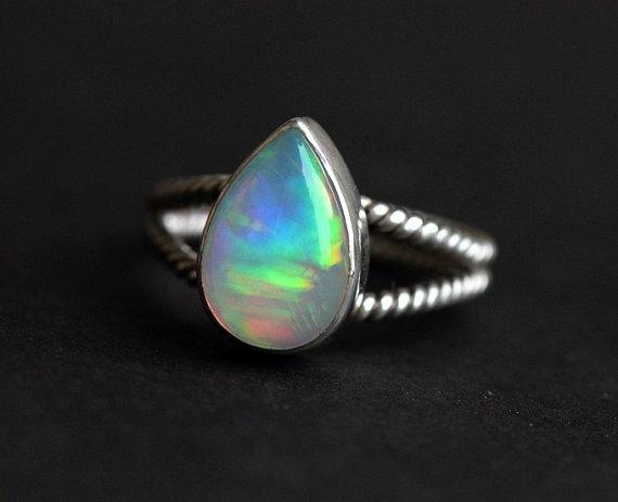 18K White Gold Opal Ring Natural Opal Ring Engagement Ring Artisan Ring