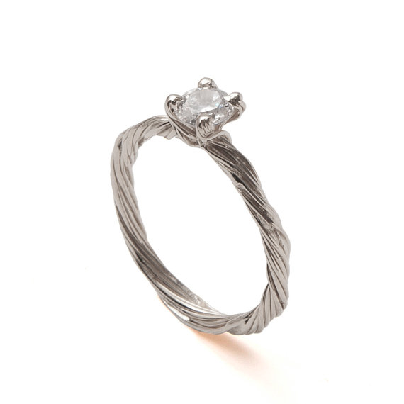 Свадьба - Twig Engagement Ring - 18K White Gold and Diamond engagement ring, engagement ring, leaf ring, filigree, antique, art nouveau, vintage