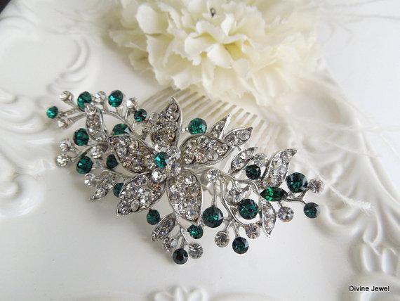 Свадьба - Vintage Style Green Leaf Rhinestone Bridal Hair Comb,Bridal Green Swarovski Crystal Wedding Comb,Wedding Hair Accessories,Green,Clip,KATY