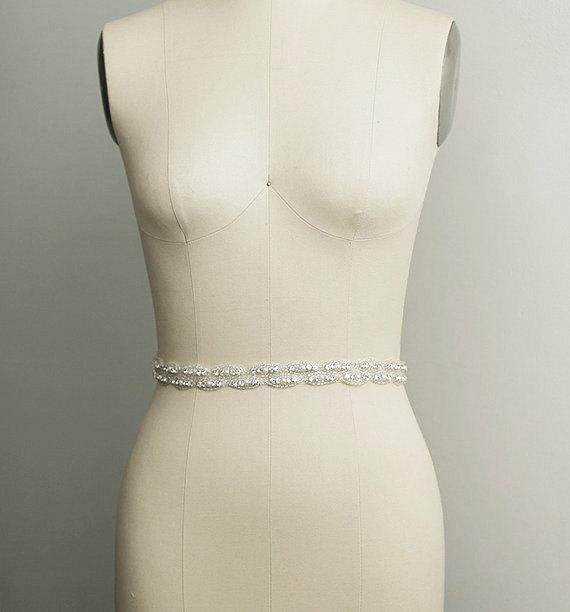Свадьба - ANASTASIA - Crystal Pearl Bridal Belt Sash - Rhinestone Pearl wedding gown sash - Wedding Dress Belt