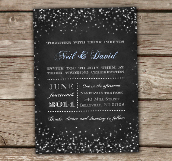Wedding - Starry Night Wedding Invitation - Printed or Printable, Chalkboard Lights Engagement Bridal Shower black white under the stars -