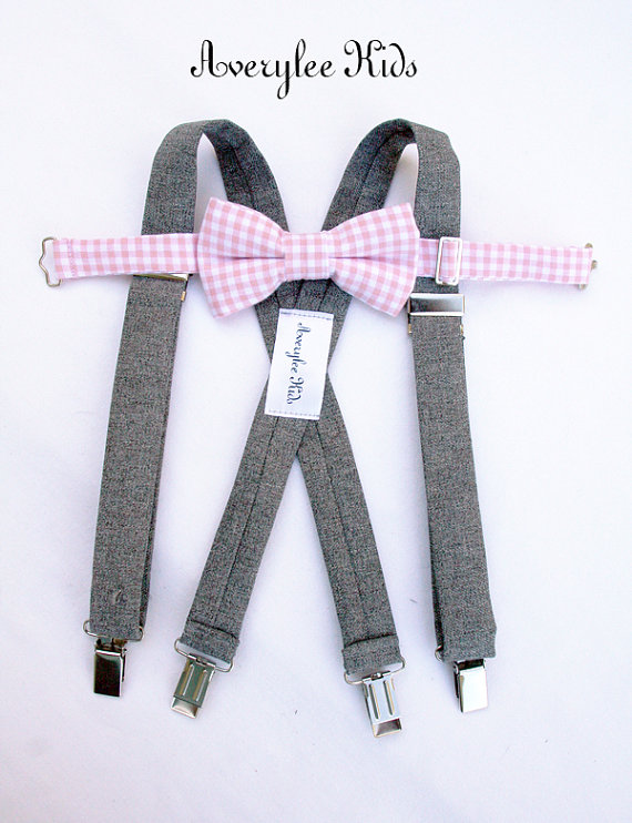 Свадьба - Wedding Suspenders for Boys, Grey Suspender and Blush Pink Bow Tie Set, Toddler Pink Bow tie, Infant Bowtie, Ring Bearer