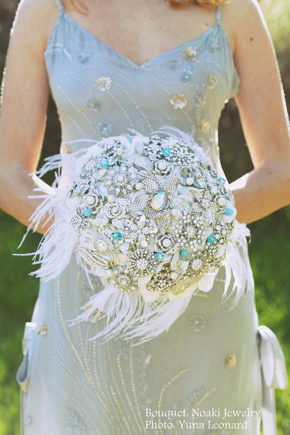 Свадьба - Tiffany crystal brooch bouquet -- deposit on a made to order bridal wedding bouquet