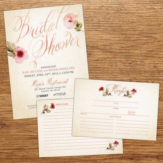 Wedding - Watercolor Flower Bridal Shower Invitation with Recipe Card
