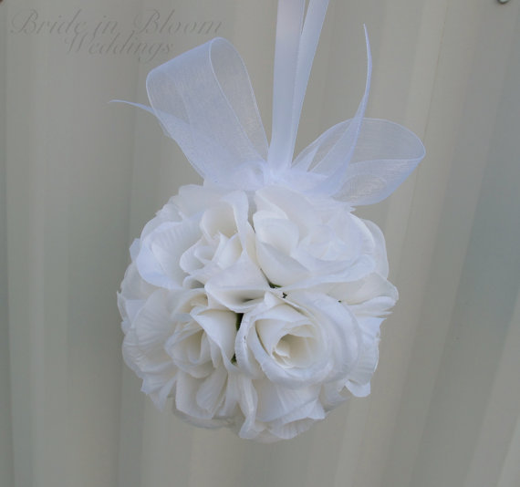 Wedding - Wedding flower balls pomander White flower girl kissing ball Wedding decorations Ceremony Aisle pew markers