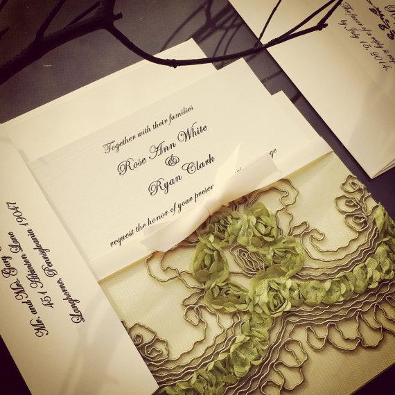 زفاف - French Lace Sleeve Wedding Invitation in Olive