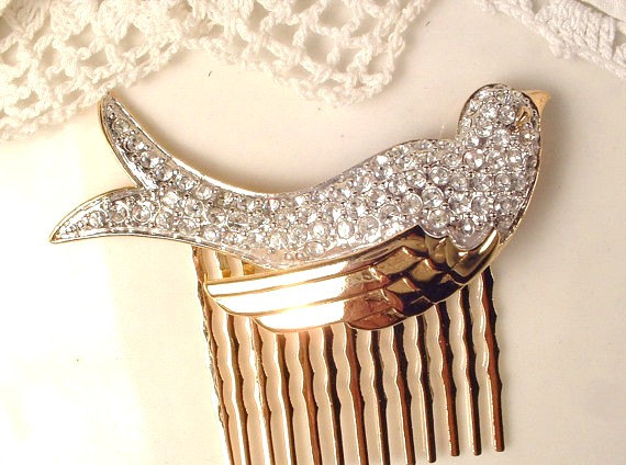 Hochzeit - Brooch OR Hair Comb, Gold Bird Clear Rhinestone Bridal Sash Pin / Head Piece, Vintage Nolan Miller Crystal Hair Accessory, Woodland Wedding