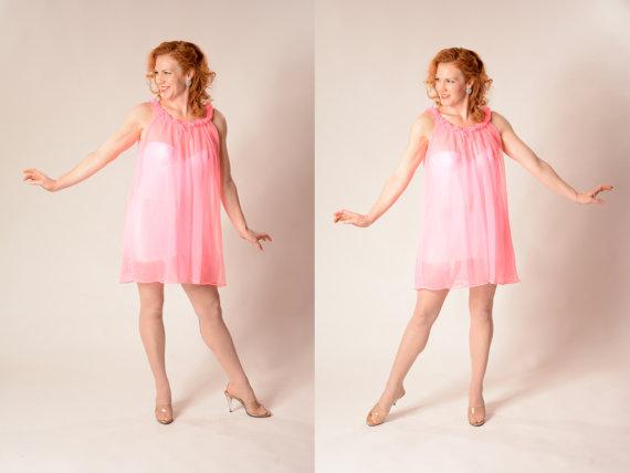 0acee740244 Vintage 1960s Pink Babydoll Nightgown - Nightie Boudoir Lingerie ...