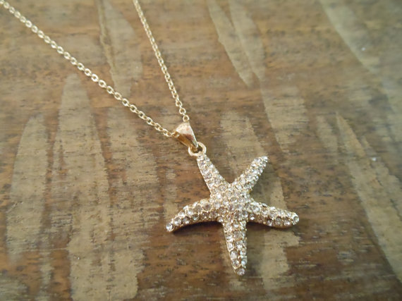 Mariage - Rhinestone Starfish Necklace - Gold Starfish Necklace - Beach Wedding - Wedding Jewelry