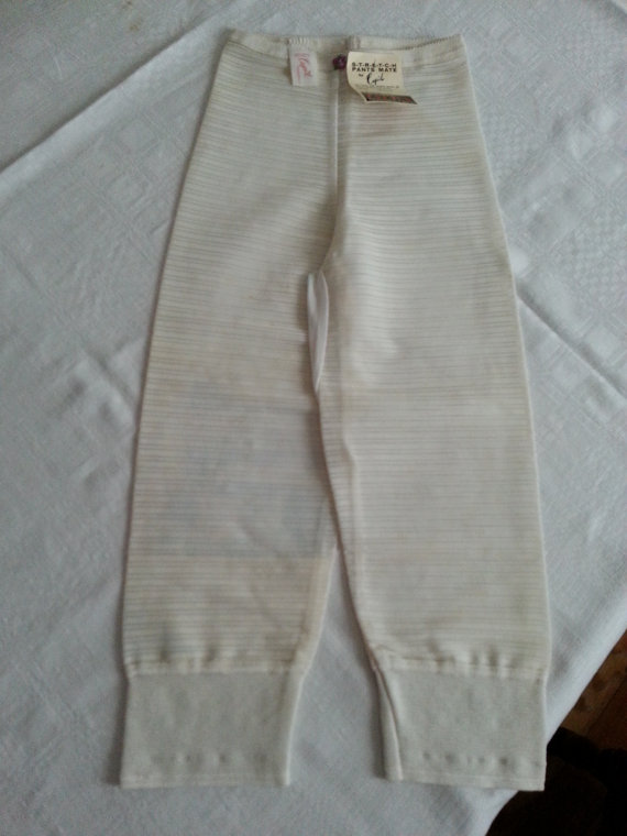 Свадьба - SALE Vintage Dead Stock Cupid Never Worn White/Off White Stretch Pants Mate Size Medium Mid Century 1950s